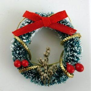 Dolls-House-Miniature-112-Christmas-Accessory-Decorated-Snowy-Christmas-Wreath-0