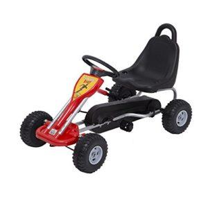 Homcom-Kids-Ride-Pedal-Go-kart-Gokart-Go-Kart-Pedal-Outdoor-Toy-Racing-Fun-Kart-Adjustable-Seats-with-Hand-Brake-Red-0