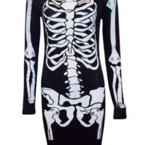 Womens-Skeleton-Bone-Midi-Dress-Ladies-Halloween-Scary-Night-Long-Sleeve-Bodycon-Dress-0